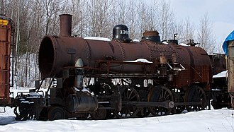 Chicago and North Western 1385 - The boiler, frame and running gear of 1385 during restoration in February 2010