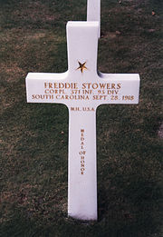 CPL Freddie Stowers' grave at Meuse-Argonne American Cemetery.jpg