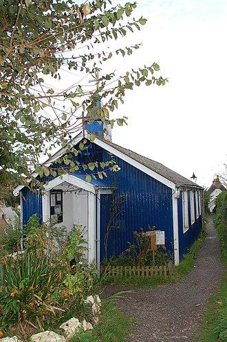 "Tin tabernacle - St Mary's Church, Cadgwith, a blue painted ""tin church""."