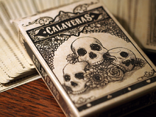 A deck of playing cards featuring a skull motif