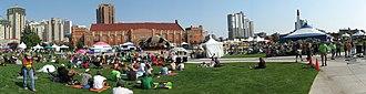 Downtown West End, Calgary - Calgary International Reggae Festival in Millennium Park, Mewata Armouries in background