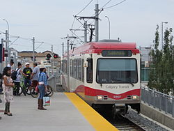Calgary LRV 2207 leading train into Saddletowne station (2013).jpg