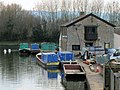 Canal Waterway Office with maintenance barges - geograph.org.uk - 1495334.jpg