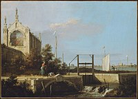Canaletto - Capriccio of a Sluice on a River with a Chapel.jpg