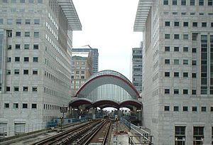 Canary Wharf DLR station - Station viewed from the south