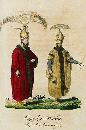 Kapıcıbaşı - Two kapıcıbaşi depicted in Antoine-Laurent Castella 1812 work.