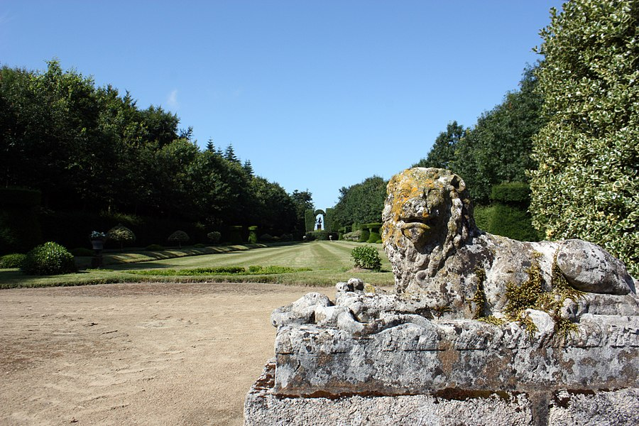 Lion statue located in the parc of Caradeuc in Plouasne, France.
