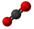 Ball and stick model of carbon dioxide
