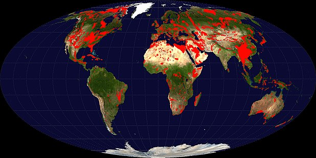 Global distribution of major outcrops of carbonate rocks (mainly limestone, except evaporites) Carbonate-outcrops world.jpg