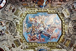 Carlo Innocenzo Carlone - Prince Eugene as a new Apollo and leader of the Muses - Schloss Belvedere, Ceiling of the Marble Hall.JPG