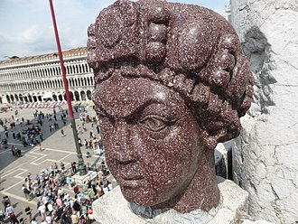 Carmagnola, an imperial porphyry head in Venice thought to represent Justinian Carmagnola 1.jpg