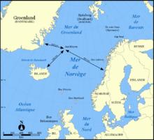 Posizione dell'isola di Jan Mayen nell'Oceano Atlantico.
