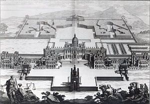 Castle Howard - A view of John Vanbrugh's complete project for Castle Howard, from the north, published in the third volume of Vitruvius Britannicus in 1725. Some details, including the West Wing, were not built. Click on the image for an explanation.
