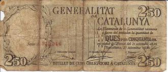 Lluís Companys - Bank note from the Generalitat de Catalunya, 1936.