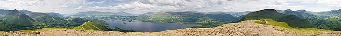 A 360 degree view from the summit of Catbells near Keswick on Derwent Water in the Lake District.