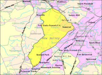 Franklin Township, Somerset County, New Jersey - Image: Census Bureau map of Franklin Township, Somerset County, New Jersey