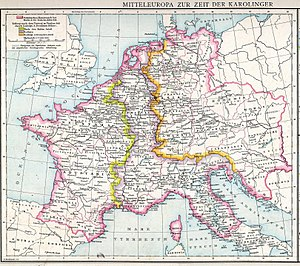 Great Moravia - Map of Moravia within East Francia in 814