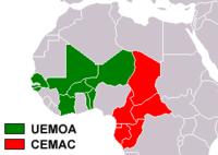 Границы хождения колониального франка