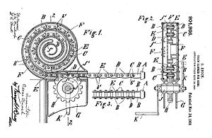 Rigid chain actuator - Patent Drawing for Chain Rammer (1908).