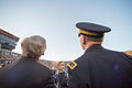 Chairman of the Joint Chiefs of Staff U.S. Army Gen. Martin E. Dempsey, right, and Rev. John I. Jenkins, the president of the University of Notre Dame, look up as Sailors with the Leap Frogs parachute onto 140906-D-KC128-106.jpg