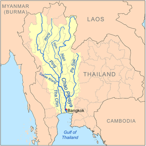 Pa Sak River - Map of the Chao Phraya River drainage basin showing the Pa Sak River