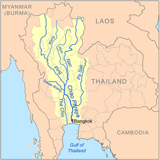Pa Sak River - Map of the Chao Phraya River drainage basin showing the Pa Sak River