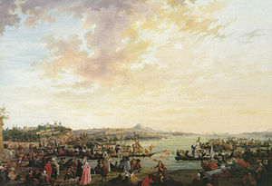 Charles Eschard - View of Marseille: Joust and party on the water by Charles Eschard, private collection, 1791