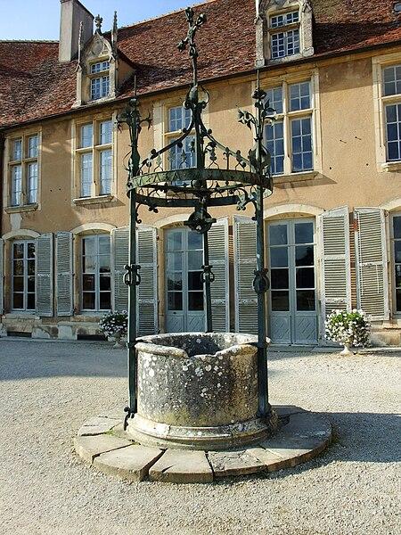 Fountain of Château d'Époisses in Burgundy, France