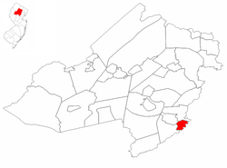 Location of Chatham in Morris County and inset, location of Morris County, highlighted in the state of New Jersey