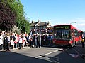 Cheering on the bus - geograph.org.uk - 3052962.jpg