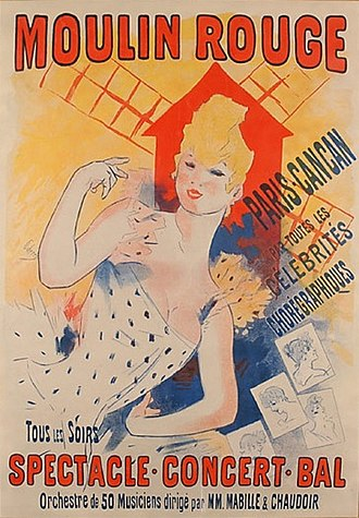 Music of France - Poster from the cabaret Moulin Rouge in Paris (1890), the spiritual birthplace of the French Cancan dance.