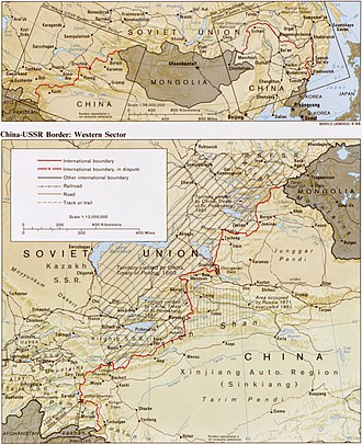 Sino-Soviet border conflict - Western part of the China-USSR border, 1988 map