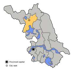 Location of Suqian City (yellow) in Jiangsu