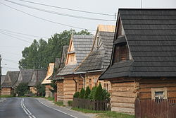 Wooden houses alongside the main street