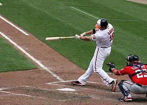 Chris Davis (baseball) - Chris Davis swings during a 2012 game vs. the Washington Nationals.