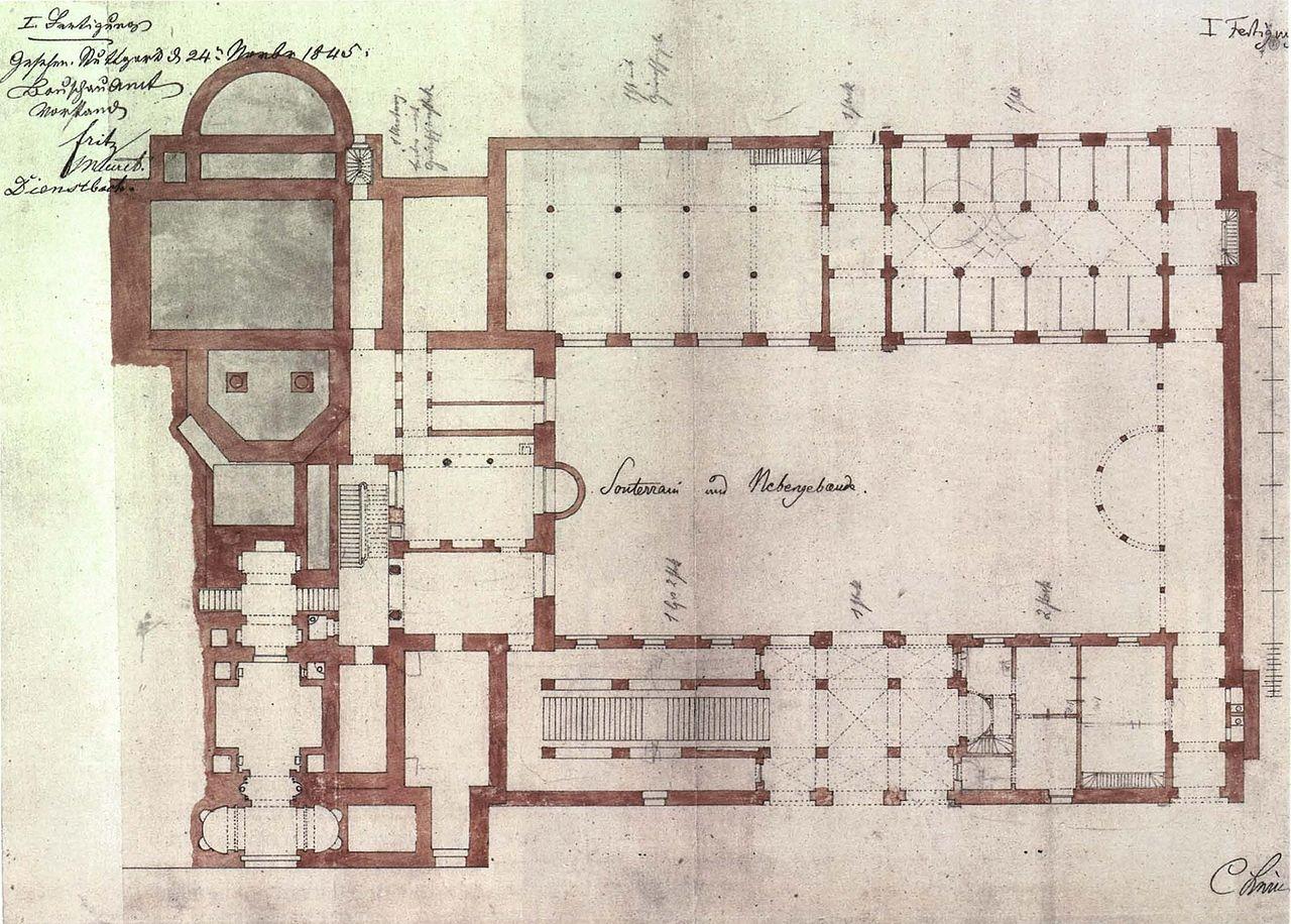file christian friedrich von leins villa berg grundriss des untergeschosses. Black Bedroom Furniture Sets. Home Design Ideas