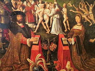 Christian II of Denmark - King Christian and Queen Elizabeth on an altar in Elsinore.