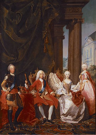 Frederick V of Denmark - Frederick (first from left) and Louise (last from right), then crown princes of Denmark, with King Christian VI and Queen Sophie Magdalene sitting, painted by Marcus Tuscher c. 1744