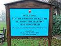Church of St John, Finchingfield Essex England - exterior sign board.jpg
