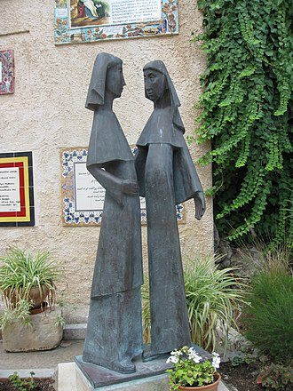 Visitation (Christianity) - Statue of the Visitation at Church of the Visitation in Ein Karem, Israel