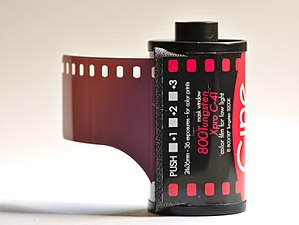 Push processing - A roll of Cinestill 135 color film showing checkboxes that can be used to remember the EI for push-processing (expressed in stops relative to the box speed of ISO 800/30°).