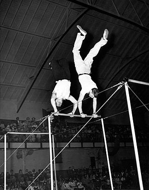 Burt Lancaster - Cravat and Lancaster performing on the horizontal bars
