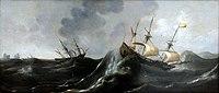 Claes Claesz Wou Trois vaisseaux sur une mer démontée.jpg
