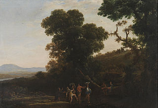 Landscape with figures wading through a stream