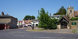 Fulbourn - Fulbourn High Street and church of St Vigor and All Saints in July 2013