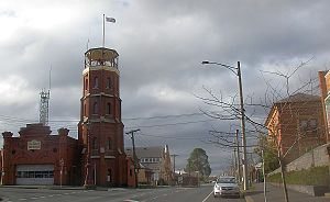 Ballarat East, Victoria - Former East Ballarat Civic Area on the corner of Barkly and East Streets. The Ballarat Fire Station is on the left, the old Library and Ballarat Secondary College are on the right.