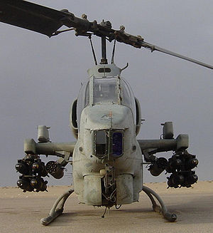 Head-on view of a U.S. Marine Corps AH-1W carr...