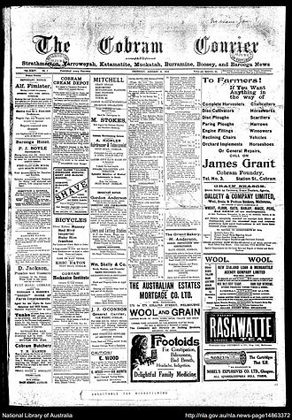 Cobram Courier - Digital image of the Cobram Courier newspaper front page, 8 January 1914
