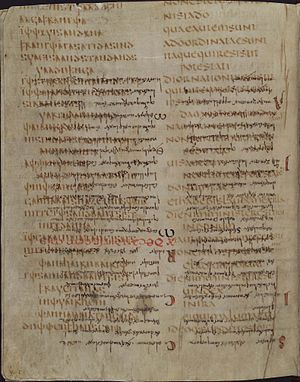 Codex Carolinus - Folio 256 verso with text of Romans 12:17-13:1; the Latin text is inverted