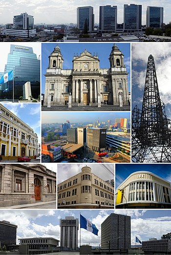 Collage of several city landmarks